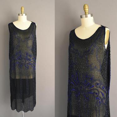 20s dress | antique black glass beaded art deco flapper dress | Large | 1920s vintage dress by simplicityisbliss