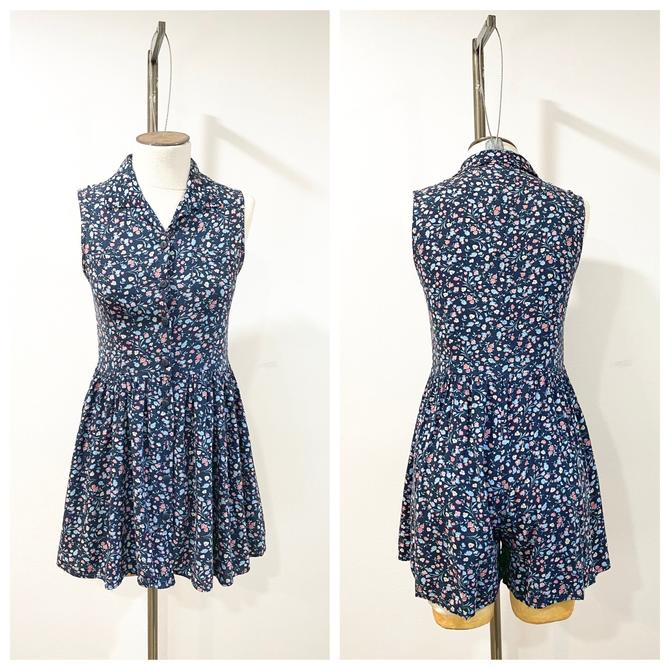 90s floral  button up dress with skort by harlowandspring