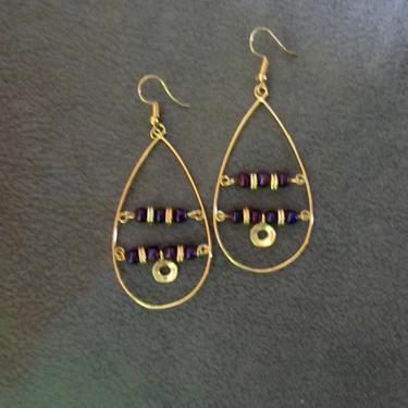 Brutalist brass hoop earrings, gold teardrop earrings, mid century modern earrings, unique earrings, bold statement purple Art Deco by Afrocasian