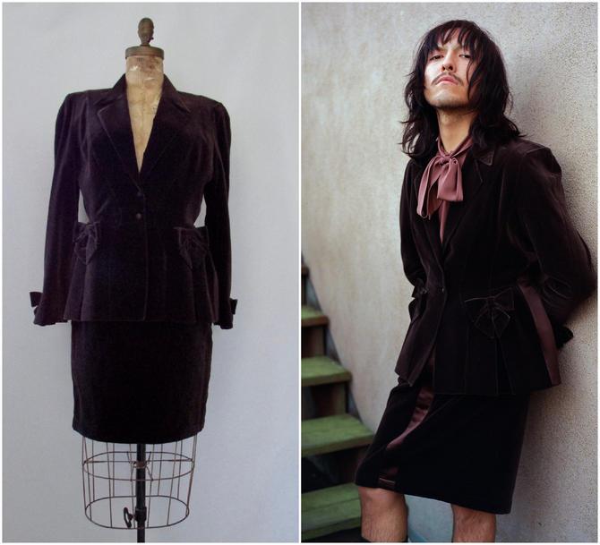 THIERRY MUGLER Vintage 80s Brown Tuxedo Suit   1980s Jacket Blazer w/ Bows, Pencil Mini Wiggle Skirt   Designer Avant Garde   SIze Medium by lovestreetsf