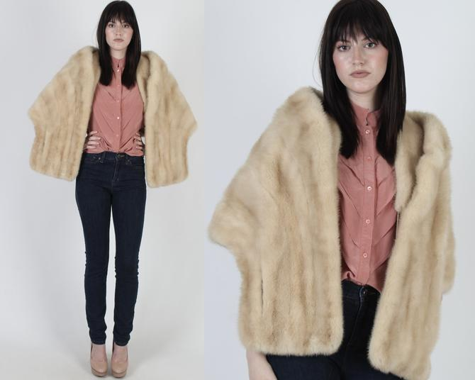 Mink Portrait Collar Fur Stole / Womens Blonde Mink Real Fur Bolero / Classic Mother Of The Bride Fur Shrug by americanarchive