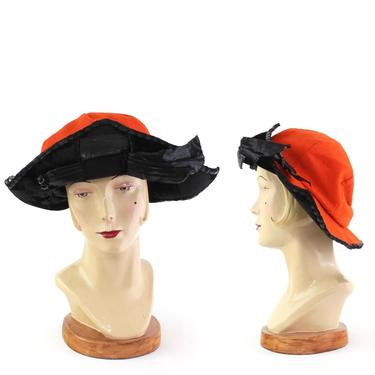 RARE Early 1920s Orange & Black Bicorn Hat - 1920s Cavalier Hat - 1920s Musketeer Hat - 20s Halloween Hat - 1920s Orange Hat - 1920s Cloche by VeraciousVintageCo
