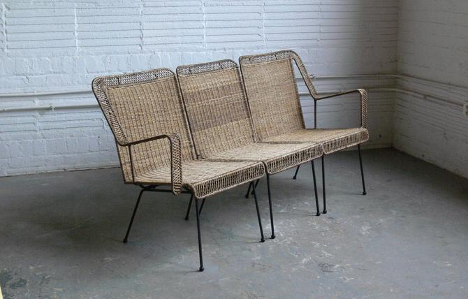 Mid Century Wicker and Wire Rod 3-Seat Settee Sofa In the Manner of Arthur Umanoff by CoMod