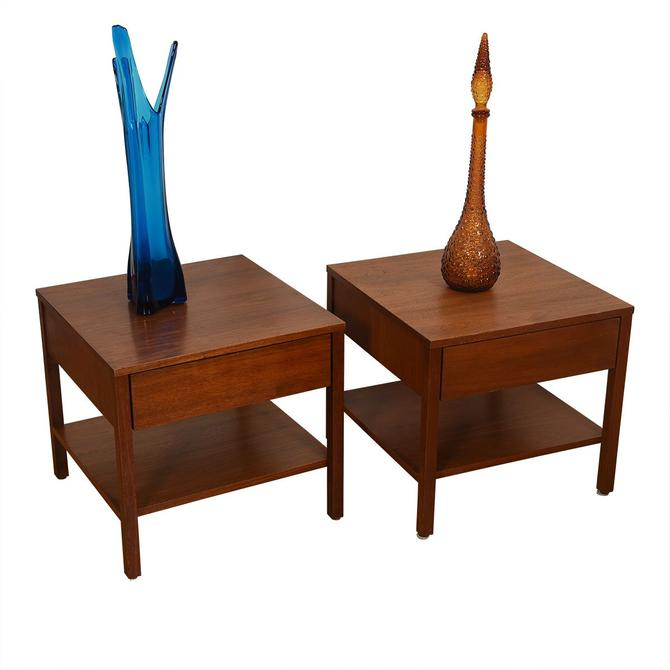 Pair of Mid Century Walnut Nightstands / Side Tables by Knoll