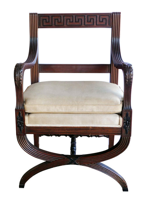 A Handsome English Regency Style Curule-form Armchair with Greek Key Relief