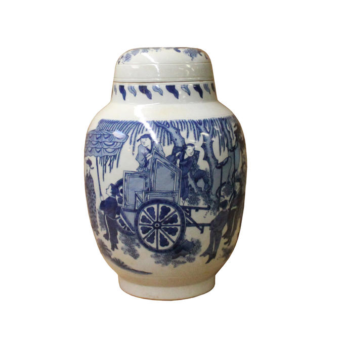 Chinese Blue White Round Porcelain People Graphic Accent Jar ws1104E by GoldenLotusAntiques