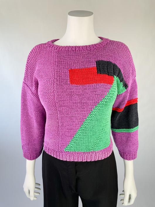 1980's Neiman Marcus Cropped Colorblock Sweater