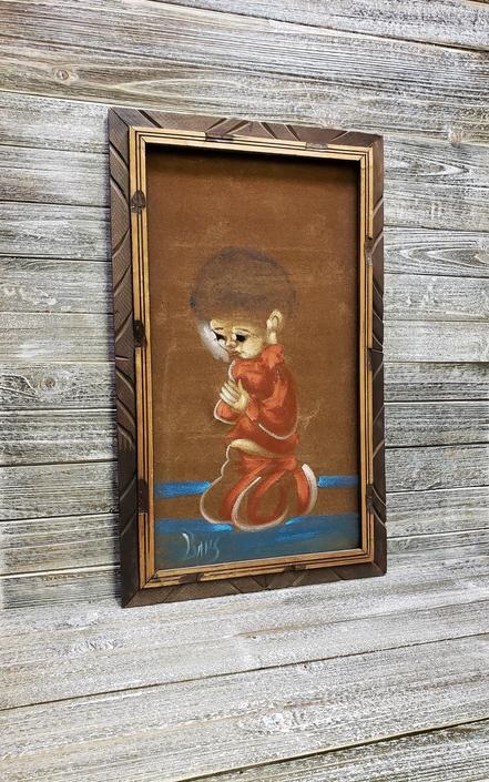 Vintage Child Black Velvet Painting, Praying Child Painting, Vintage Black Velvet Wall Hanging, Kneeling Boy, Wood Frame Vintage Home Decor by AGoGoVintage