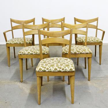 Heywood Wakefield Set of 6 Mid-Century Modern Wheat Bow Tie Dining Chairs 953 by AnnexMarketplace