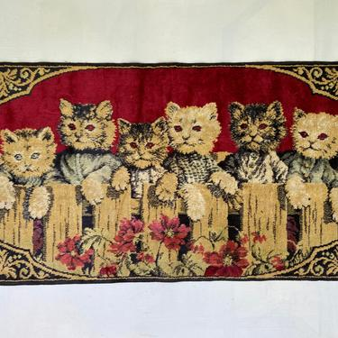Vintage Kitten Tapestry, Kitty Wall Hanging, Cat Lovers, 6 Kitty Cats At Fence by luckduck