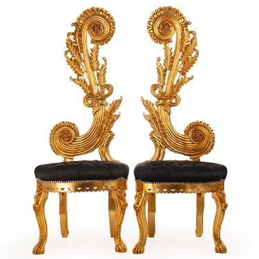 "Italian Baroque Throne Chair High Back 65"" Tall French Tufted Chair Rococo Furniture Vintage Chair Interior Design Vintage Furniture by SittinPrettyByMyleen"