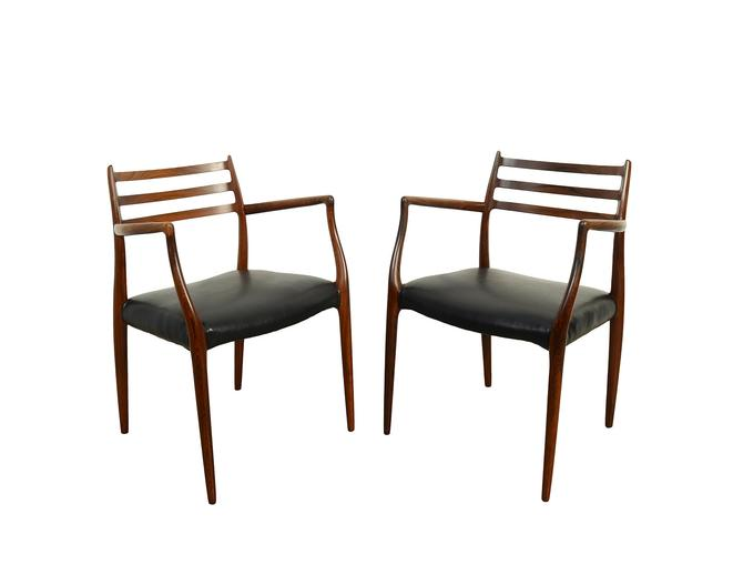 J.L. Moller Rosewood Arm Chair Two Dining Chairs Model #62 Leather by HearthsideHome