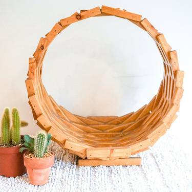 Retro Geometric Cedar Wood Basket by PortlandRevibe