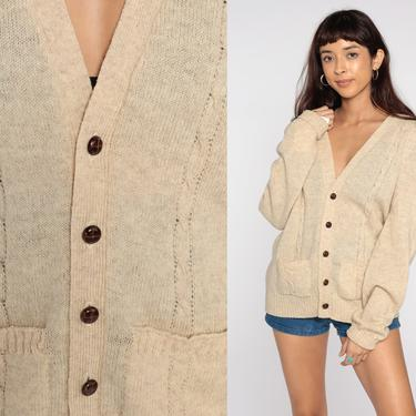 Cream Wool Cardigan Cable Knit Sweater 80s Boho Cream Bohemian Fisherman Chunky Grandpa Vintage 1980s Button Up Cableknit Large xl l by ShopExile