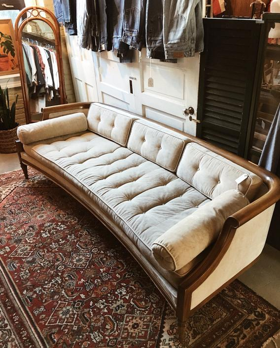 Low Mid Century Wood Framed Cream Upholstered Sofa, Mid Century Sofa, Vintage Cream and Wood Sofa by VintageandSwoon