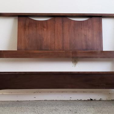 Mid Century Modern Walnut Full Size Headboard and Footboard Bed Frame by WrightFindsinMCM