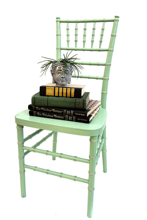 Vintage Mint/Celadon & Gold Faux Bamboo Accent Chiavari/Tiffany Chair | Chinoiserie | Coastal Beach House | Boho Chic Functional Décor by ELECTRICmarigold
