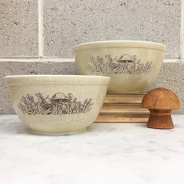 Vintage Pyrex Bowls Retro 1980s Forest Fancies + Set of 2 + #402 + #403 + Mushrooms + Toadstools + Ceramic +  Cookware + Kitchen Decor by RetrospectVintage215