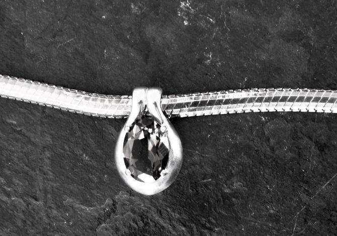 Vintage Smoky Quartz Slide Pendant on Sterling Chain by LegendaryBeast