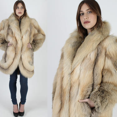 Vintage 70s Crystal Red Fox Fur Coat / Genuine Orange Swirl Sleeve Fox Fur Jacket / Oversized Arctic Natural Plush Winter Avant Garde Jacket by americanarchive