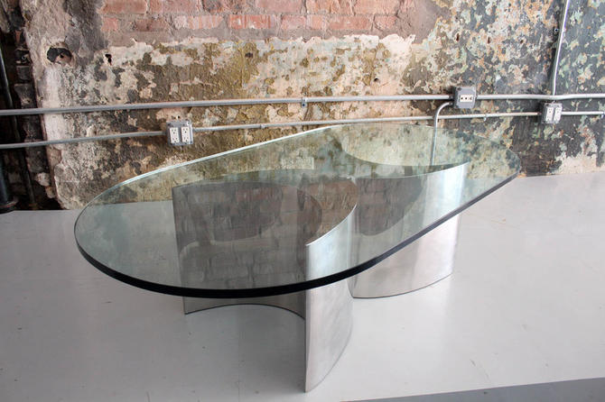 Chrome and Glass Modernist Table