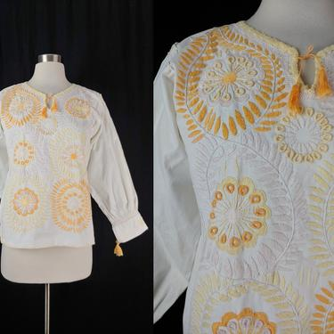 Vintage Seventies Embroidered Peasant Blouse - 70s Small White Bohemian Long Sleeve Top by JanetandJaneVintage