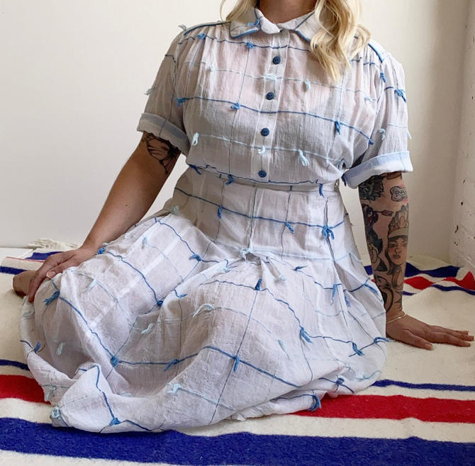 1950s White & Blue Shirt Dress by milkandice