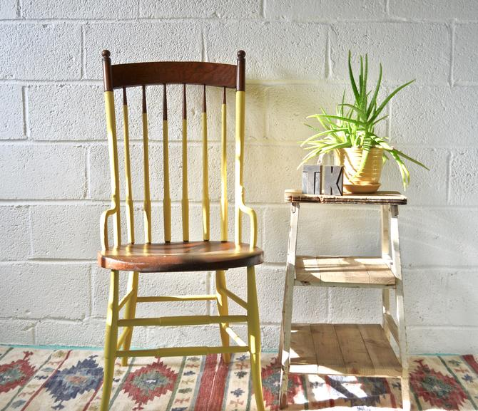 Vintage Yellow Wooden Chair