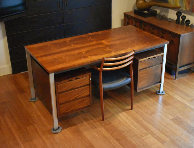 Restored 'floating top' executive/partners desk in Brazilian Rosewood, circa 1960s by MidCenturyClever