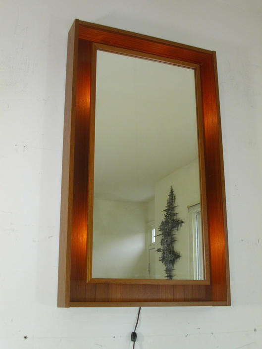 Pedersen & Hansen Large Lighted Teak Danish Modern Mid Century Wall Mirror MCM 60s by RetroSquad