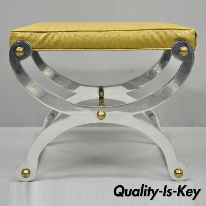 Vintage Steel and Brass Curule X-Frame Regency Maison Jansen Style Stool Bench
