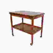 Grete Jalk for Poul Jeppesen Teak Expandable Serving Cart, 1950s Teak Bar Cart Rolling tea cart danish modern by HearthsideHome