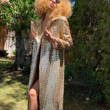 Rare 1970's Vintage gold SEQUIN Duster long beaded opera coat, vintage  gold sequin maxi dress jacket  size small by ShopRVF