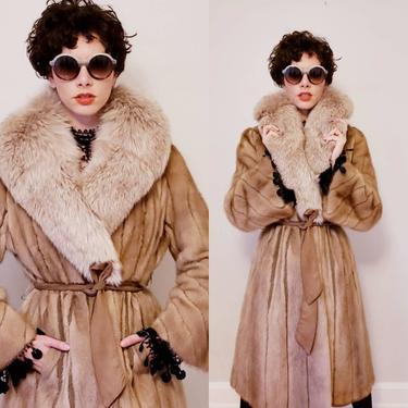 1970s Long Fur Wrap Coat Suede Belt / 70s Boho Winter Coat Oversized Blush Fox Fur Collar and Pastel Mink Fur Leather Strips / M L / Caryne by RareJuleVintage
