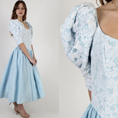 Baby Blue Ball Gown / 80s Gunne Sax Prom Dress / Retro Formal Evening Party Outfit / Vintage Fairytale White Floral Lace Full Skirt Maxi by americanarchive