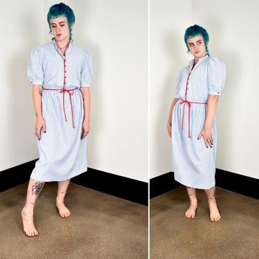 80s Blue White Stripe Shirtdress Dress with Red Trim by LavenderJosephine