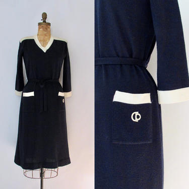 CHRISTIAN DIOR Vintage 70s Blue Sweater Dress | 1970s Navy Knit Sweaterdress | 80s 1980s CD Designer, London Knitwear | Size Medium Large by lovestreetsf