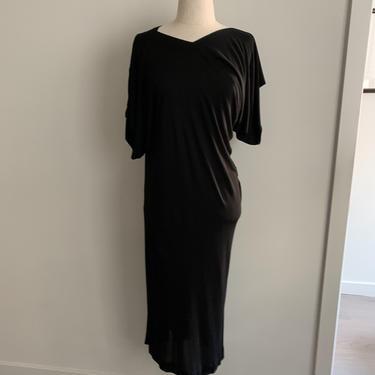 Stunning Jean Muir Black Rayon Jersey Knit Asymmetrical Dress-Size 10 (US) by MartinMercantile