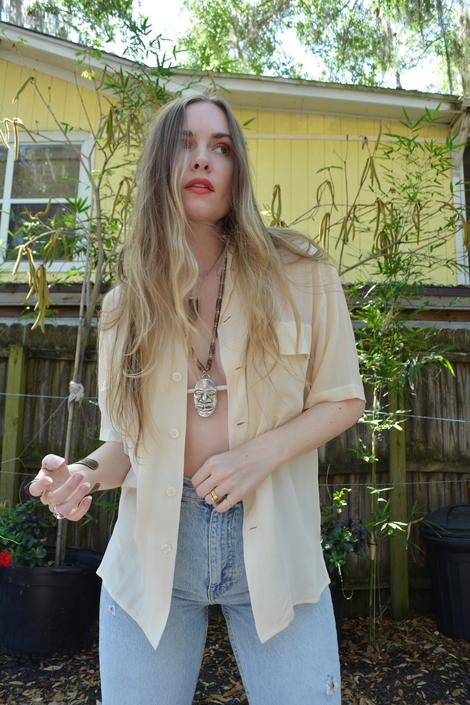 vintage silk blouse / vintage silk top / cream silk blouse / vintage silk shirt / vintage short sleeve silk shirt / ss silk shirt / silk top by memoryjunkievintage