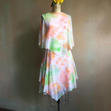 Vintage 60s Sylvia Ann Brand Chiffon Tiered Floral Dress by LucileVintage