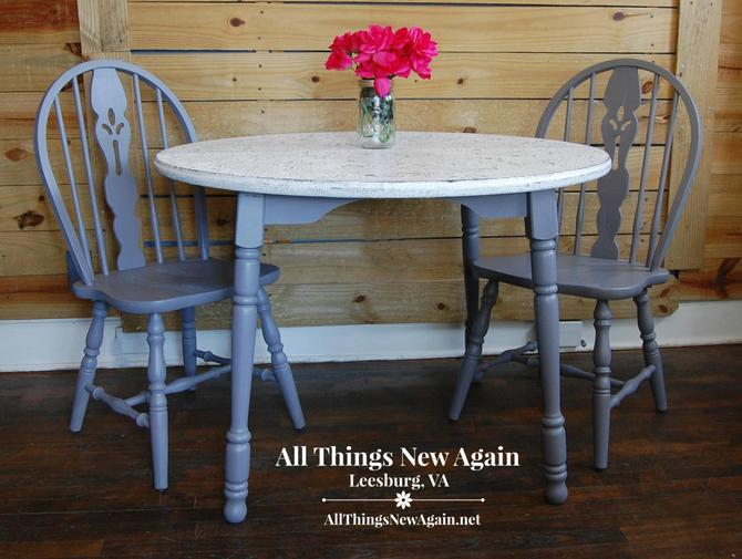 Table and 2 Chairs Dining Set | Painted Gray and White | Breakfast Nook | Kitchen Table and Chairs | Vintage Dining Set by AllThingsNewAgainVA