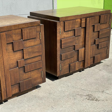Lane Staccato Brutalist Nightstands by HollywoodHillsModern