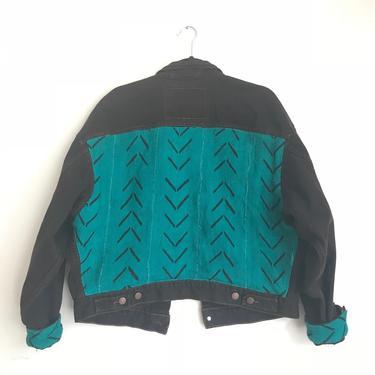 Black + Teal Arrow Mud Cloth Jean Jacket