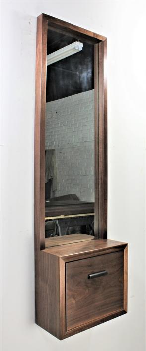 Custom Large Walnut Entry Hall Mirror with wall shelf and Drawer Contact for shipping quote by GRWoodworker