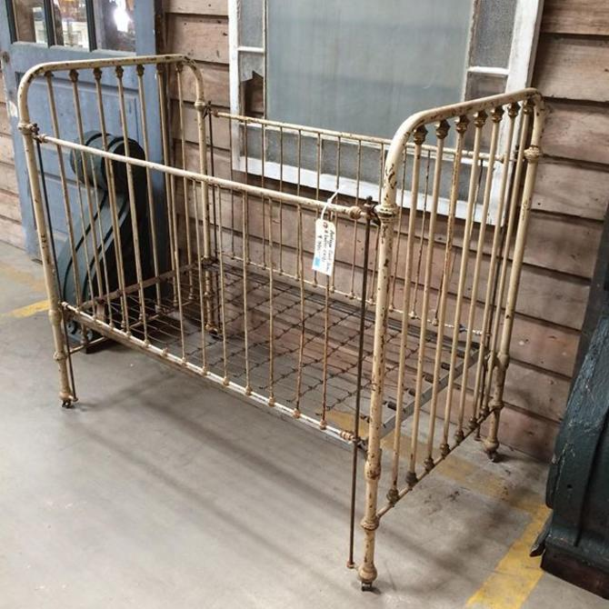 Antique baby crib, cast iron and brass. $395. #vintage - Antique Baby Crib, Cast Iron And Brass. $395. #vintage From