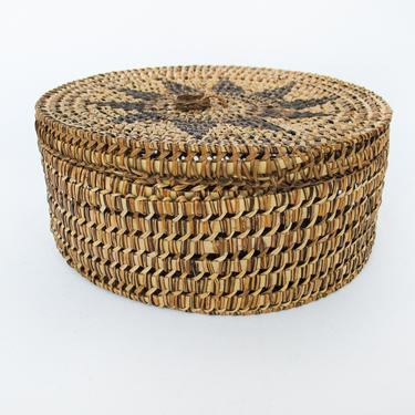Vintage Intricately Woven Basket with Original Lid and Pin Wheel Detail by PortlandRevibe