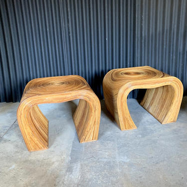 Pencil Reed Bamboo End Tables or Night Stands, Gabriella Crespie Style(Pair) by HermansSteelGarage