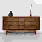 Walnut mid century 9-drawer restored dresser
