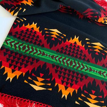 1930'S Indian Trade Blanket - Pendleton Label - Camp Blanket - Geometric Deco Design - Vivid Colors - All Wool by GabrielasVintage