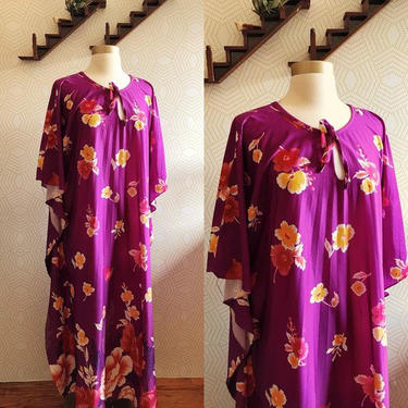 Purple Floral Made in California Polyester Muumuu by FolkandCup